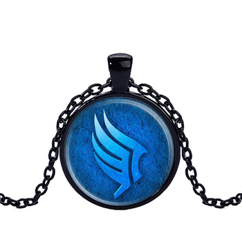 Caxybb brand Mass effect glass round dome Necklace, Blue Pendant, fashion men Jewelry women gift CN448