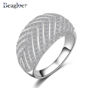 Beagloer 2016 Big Sale Ring New Style Arrow Pattern Ring Silver/ Gold Color Micro Pave Cubic Zircon Wide Ring CRI0025
